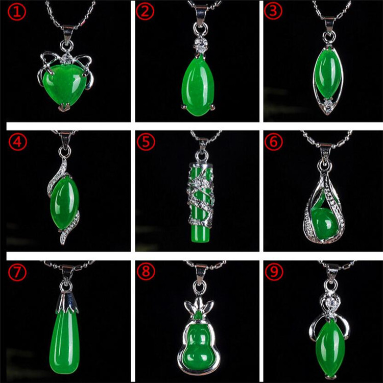 Natural Green Hetian Jade Pendant 925 Silver Necklace Chinese Jadeite Amulet Fashion Charm Jewelry Gifts For Women Her