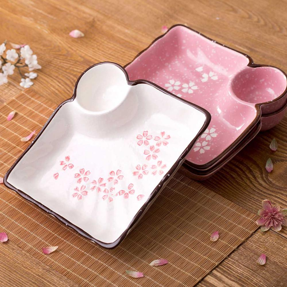 1pc Ceramic Plate Dish Dumplings Bowl Sushi Plate with Sauce Dish Kitchen Tableware Dessert Fruit Plate Tray Dinner Plates