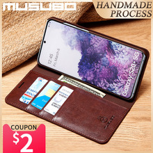 Musubo hakiki deri kılıf Samsung Galaxy S20 5G kapak Flip muhafaza S20 + S20 Ultra S20 artı Fundas lüks cüzdan çapa Coque