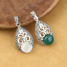 лучшая цена 925 Sterling Silver Jewelry Retro Thai Silver Men And Women Models Marcasite Inlaid Opal Green Agate Pendant