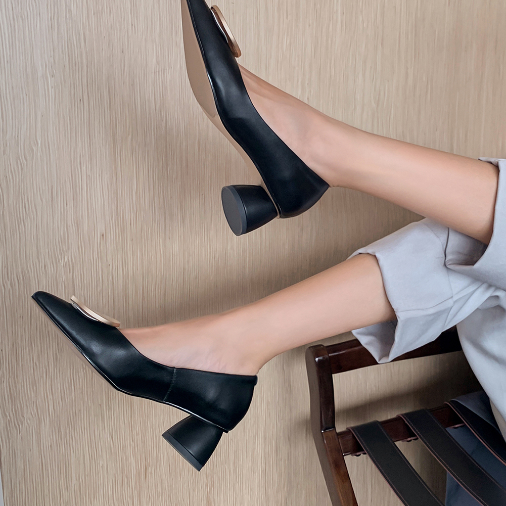 RIBETRINI Spring New Office Med Chunky Heels Shoes Woman Elegant Shallow Genuine Leather Pumps Women Concise Toe Pumps