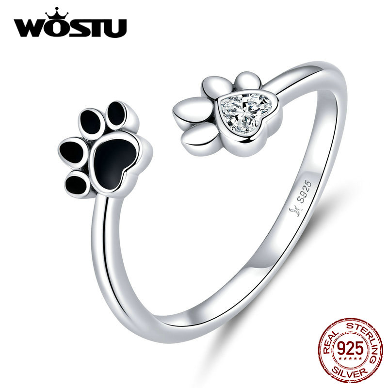 WOSTU 100% 925 Sterling Silver Paw Dog Pets' Footprint Ring For Women Wedding Engagement Adjustable Rings Fashion Jewelry CQR605