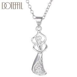 DOTEFFIL 925 en argent Sterling 18 pouces bonheur fille givré pendentif collier pour les femmes mode mariage fête breloque bijoux