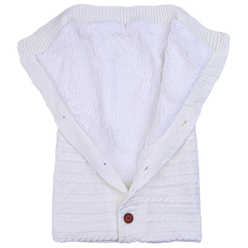 Baby Winter Swaddle Blanket Warm Fleece Stroller Wrap Nap Blanket Thick Knit Baby Sleeping Bag Sack (White)