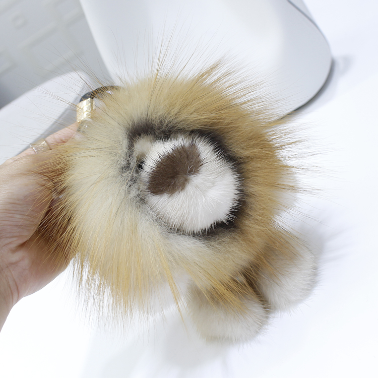 New Korean style mink fur lion doll pendant car decoratipn key chain bag pendant fashionable and cute doll