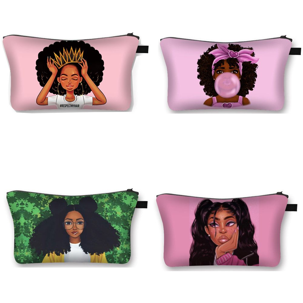 Cute Afro Girl Print Cosmetic Case Africa Women Fashion Makeup Bag Ladies Toiletry Bags Female Travel Organizer Make Up Bags