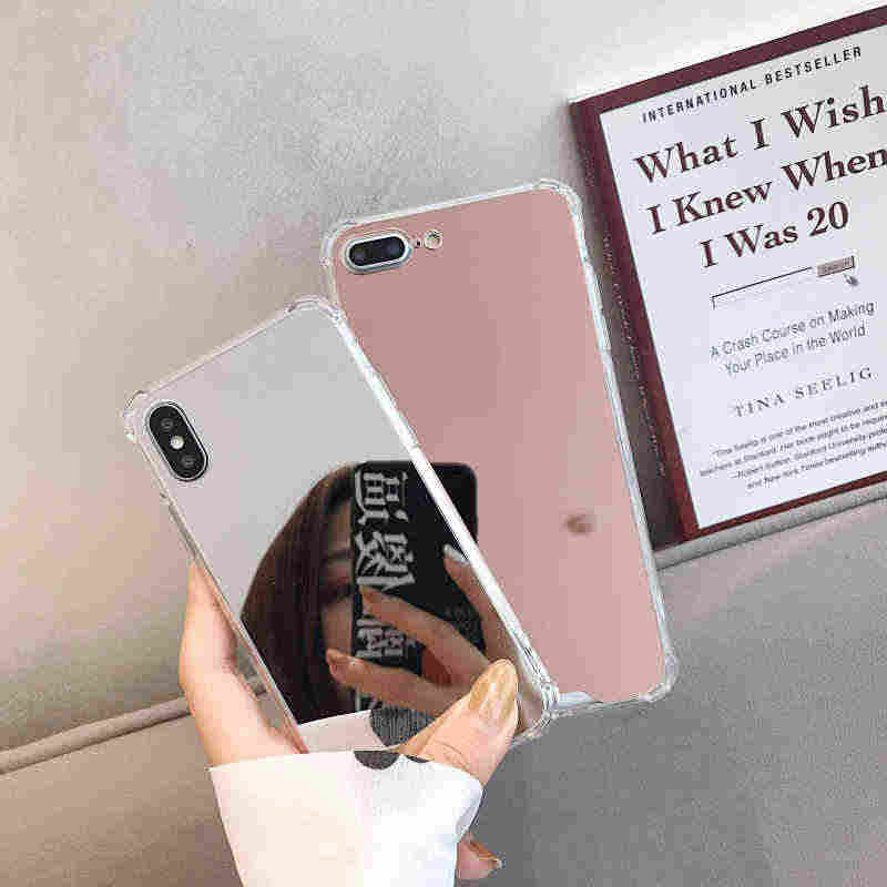 Kantong Udara Penuh Cermin Case untuk Iphone 11 Pro MAX 6 6S 7 7 Plus 10 X XS Max XR SE 2020 Shockproof Silikon Lembut Ponsel Penutup Belakang