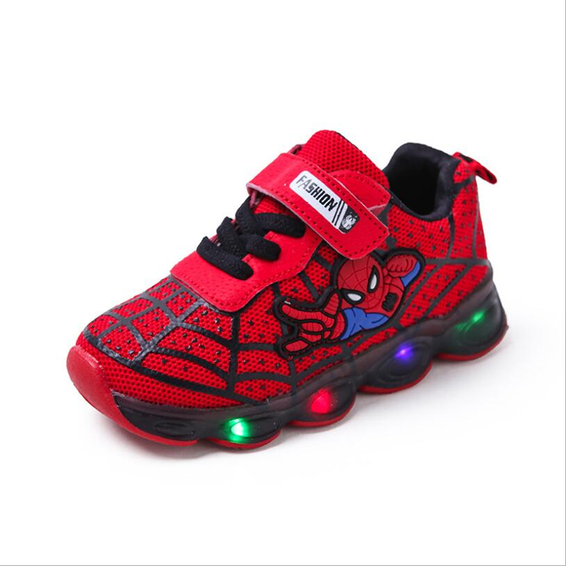 Kids Led <font><b>Shoes</b></font> Spider-Man led luminous Kids Boys Sneakers <font><b>Children</b></font> Glowing <font><b>Shoes</b></font> tennis infant Baby Boys <font><b>Shoe</b></font> <font><b>With</b></font> <font><b>Light</b></font> image