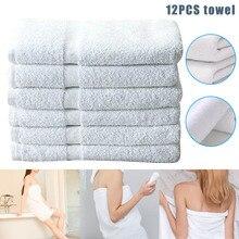 12 шт. белые полотенца хлопок толстые 12x12 дюймов мягкие удобные домашние гостиничные полотенца H99F