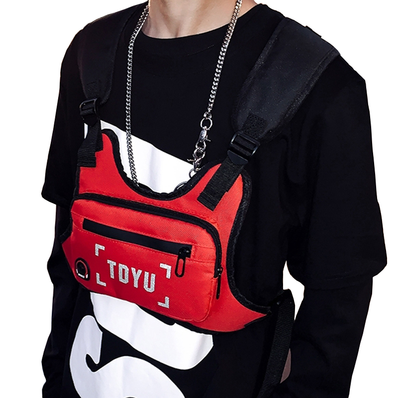 Chest Rig Bag For Men Hip-Hop Streetwear Vest Chest Bags Outdoor Small Phone Pouch Reflective Strip Disco Strap Chest Pack G161