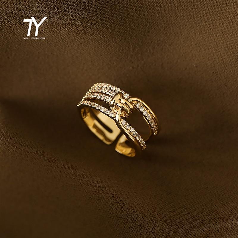 2021 neue Kreative Geometrische Element Knoten Metall Gold Öffnung Ringe Für Frau Modeschmuck Luxus Party Girl Ungewöhnliche Ring