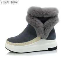 Snow-Boots Winter Warm Genuine-Leather Platform Femal-Shoes Women Flat Ankle Size-33-43