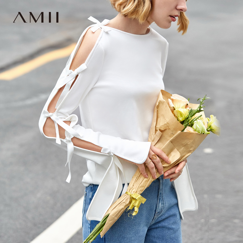 Amii Minimalist Slash Neck T-shirt Spring Women Sexy Hollow Straps Long Sleeve Female Pullover Tops 11970005