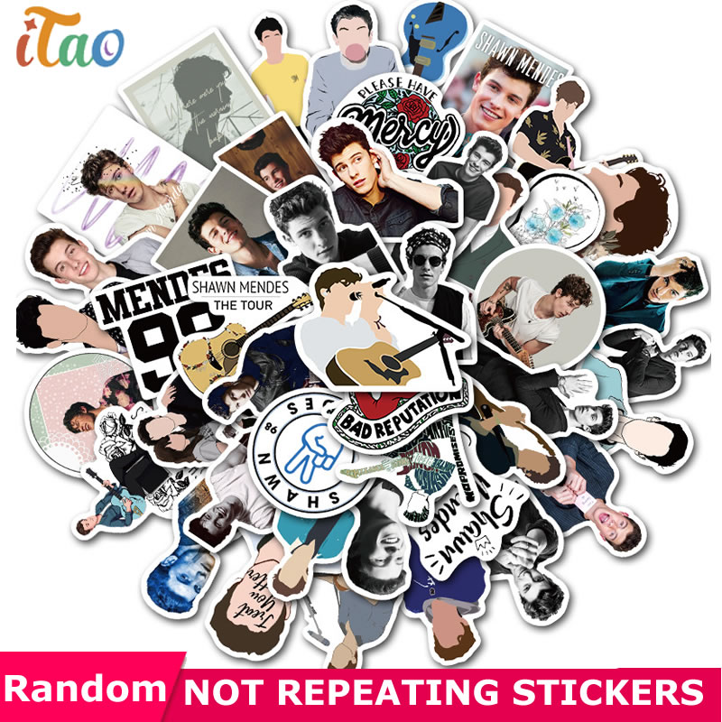 10/20/30/40/50pcs Singer Shawn Mendes Stickers Waterproof PVC Luggage Skateboard Snowboard Phone Laptop Guitar Kids Toys Sticker