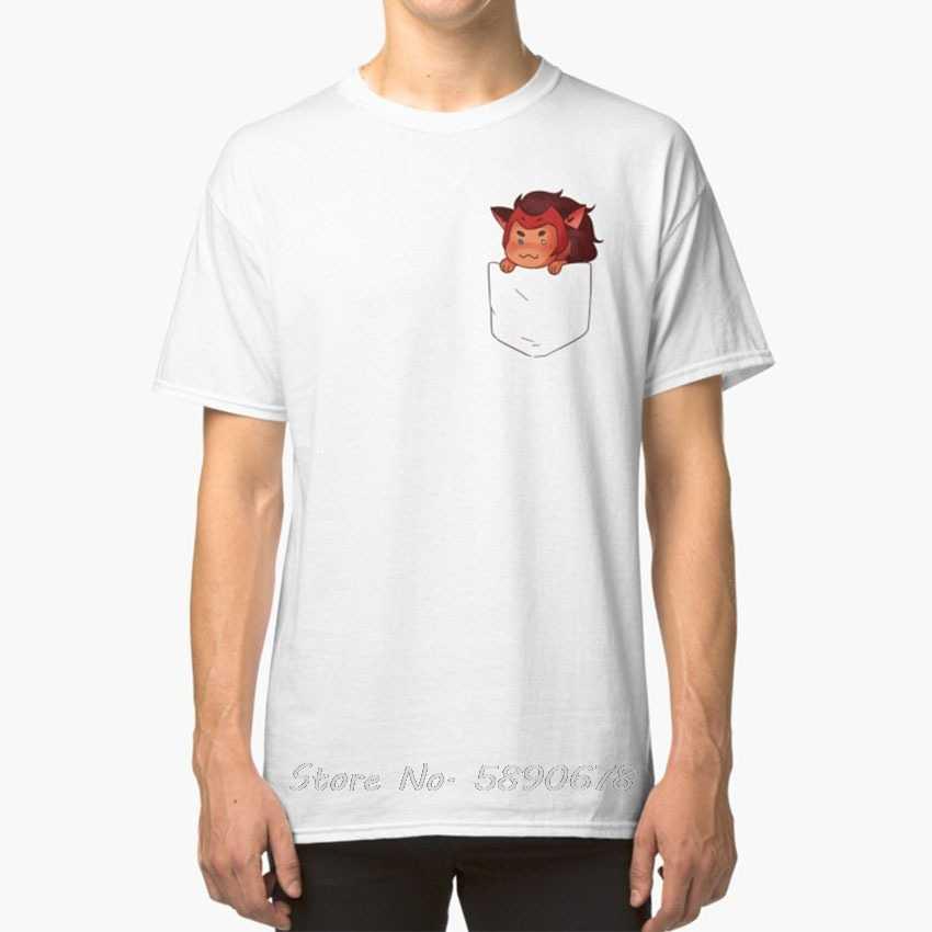 Catra In Tasca T - Shirt Lei Ra Spop Catra Netflix Dreamworks di Riavviare Il Sistema Chibi Tasca della Maglietta Divertente Magliette