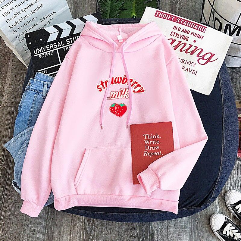 Kpop Cute Strawberry Hoodie Sweatshirt Harajuku Lolita Style Strawberry Milk Graphic Hoodies Women Winter Schoolgirl Streetwear