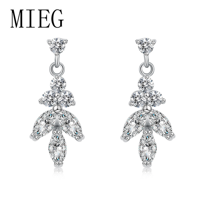 MIEG New Arrival White Gold Color Plated Cubic Zirconia Crystal CZ Zircon Wedding Earrings For Women Bride