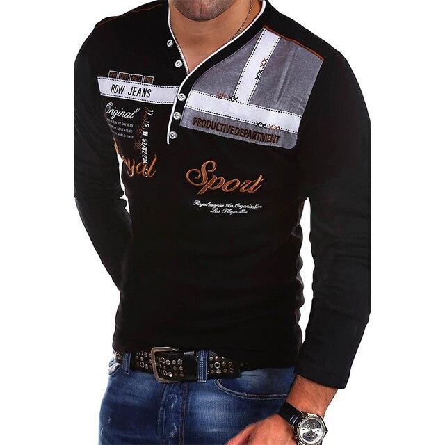 Zogaa 2019 جديد الصيف رجالي قميص بولو كم طويل ذكر بلايز سليم صالح مطبوعة القطن قمصان بولو عادية سريعة الجافة 4XL قميص بولو