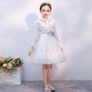 Image 5 - Детское платье принцессы для выпускного вечера, белое однотонное платье с длинным рукавом, на осень и зиму, 2019