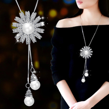 LWMMD  Romantic Imitation Pearls Necklace Silver Color Sunflower Pendant Zircon Women Daisy Girls pearl necklace