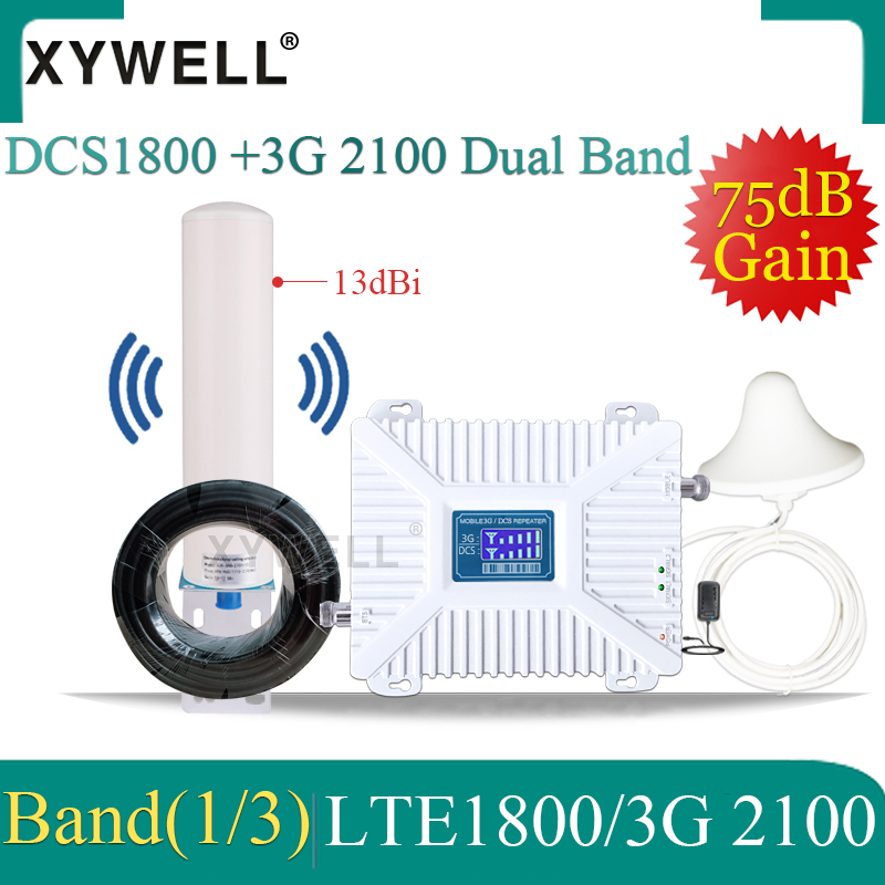 Hot!! 1800/2100mhz Dual-Band 4G Cellular Amplifier 2g 3g 4g Signal Repeater Band3/Band1 DCS 3G 4G Mobile Network Signal Booster