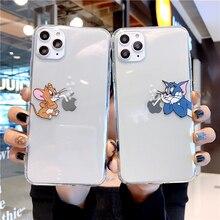 Custodia antiurto per mouse gatto simpatico cartone animato per iPhone 12 11 Pro Max Mini X XS Max XR 7 8 Plus Cover posteriore in TPU trasparente