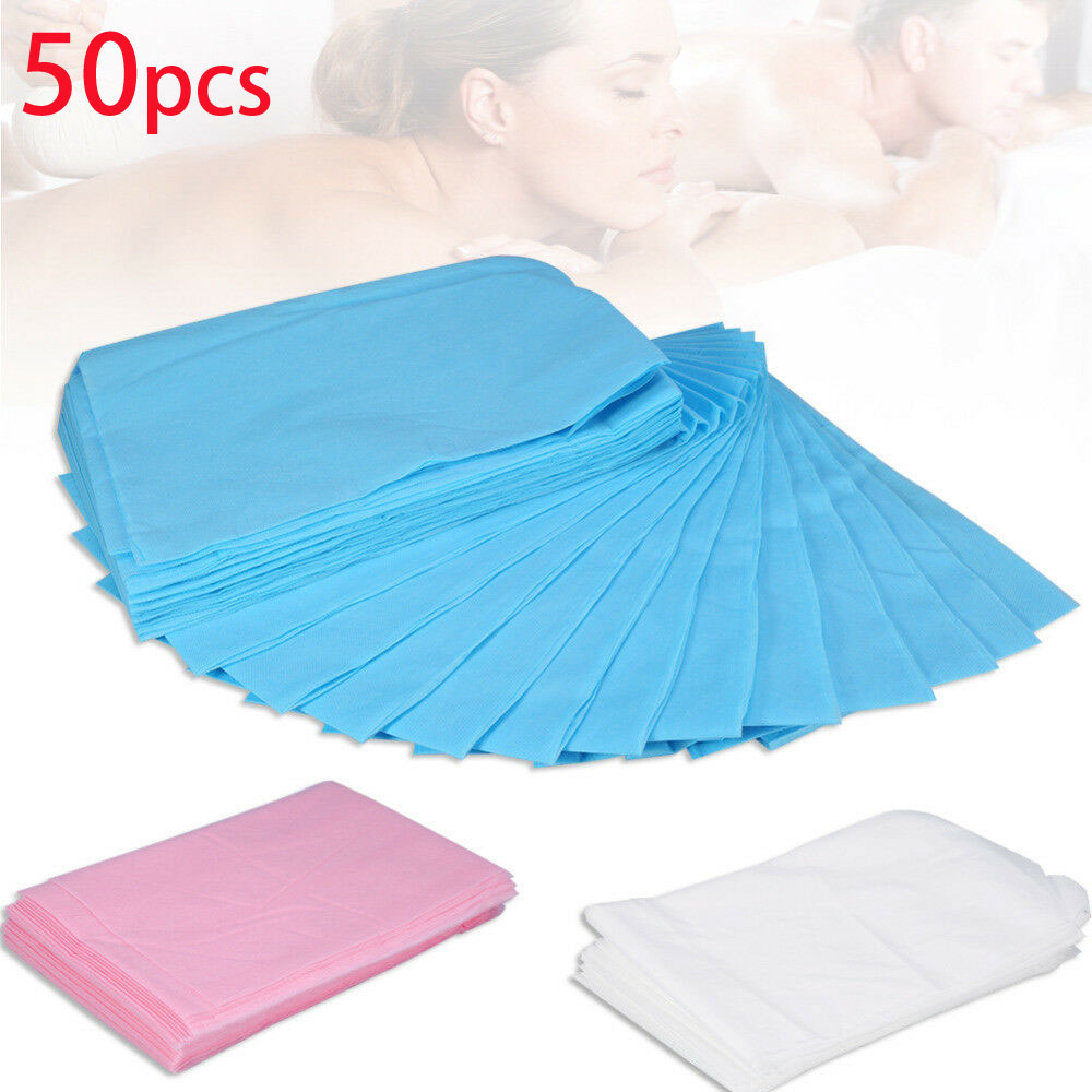 50pcs Disposable Massage Beauty Waterproof Bed Table Cover Sheets Cushion 80 X 180cm Pink Blue White