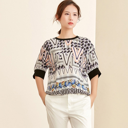 100% Silk Blouse Women Loose Patchwork Top Printed Simple Design O Neck Half Sleeves Casual New Fashion 2019