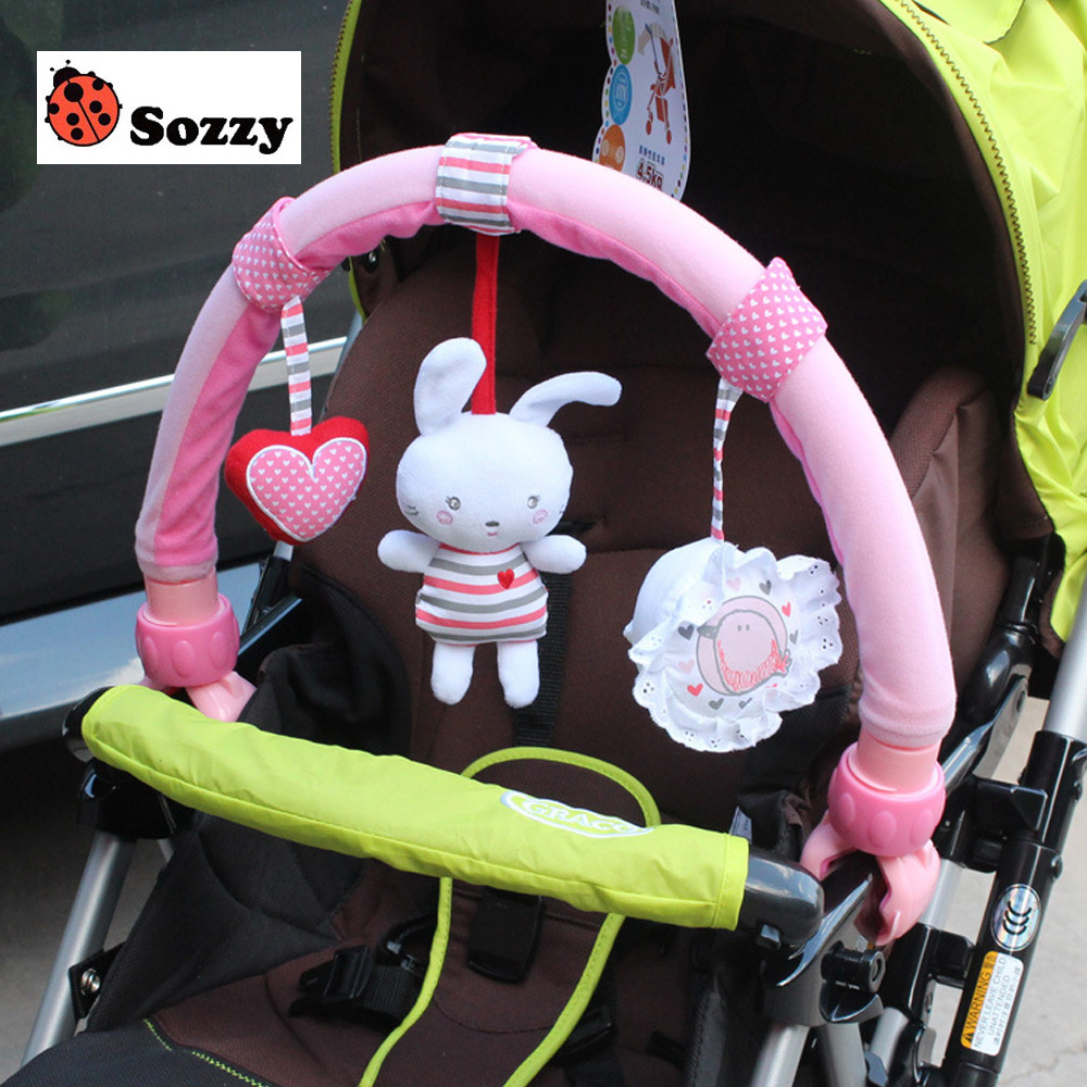 1pcs Baby Hanging Baby Blue Elephant And Pink Bunny Music Toy Baby Bed & Stroller Toy Baby Rattle