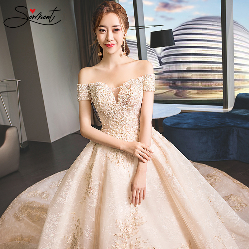 OLLYMURS Luxury Royal Pattern Wedding Dress Off The Shoulder Lace Up Royal Train Golden Pattern Royal Wedding Church Wedding