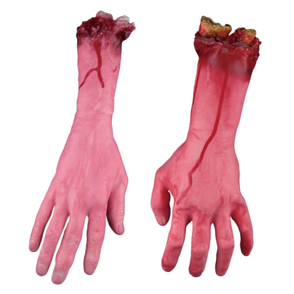 1 Pair Simulation Human Arm Hands Bloody Dead Body Parts Halloween Horror Props Hand Terror Party Decoration