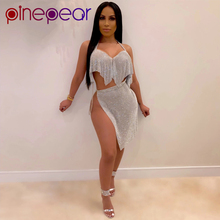 PinePear Sexy Sequins Silk Two Piece Outfits for Women Festi