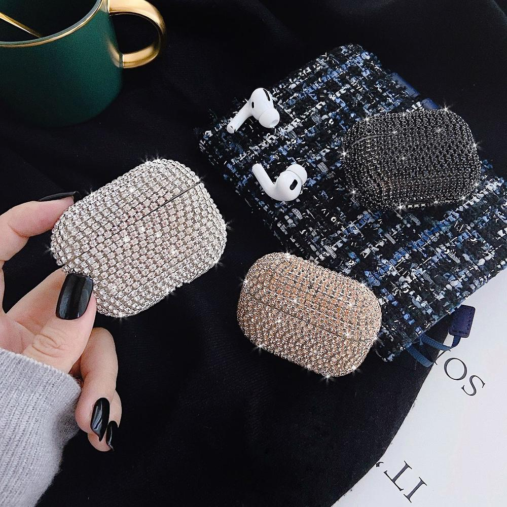 Luxury Shiny Rhinestone Hard PC Bluetooth Earphone Case For Apple AirPods Pro 3 Charger Box Bling Glitter Protection Cover Funda