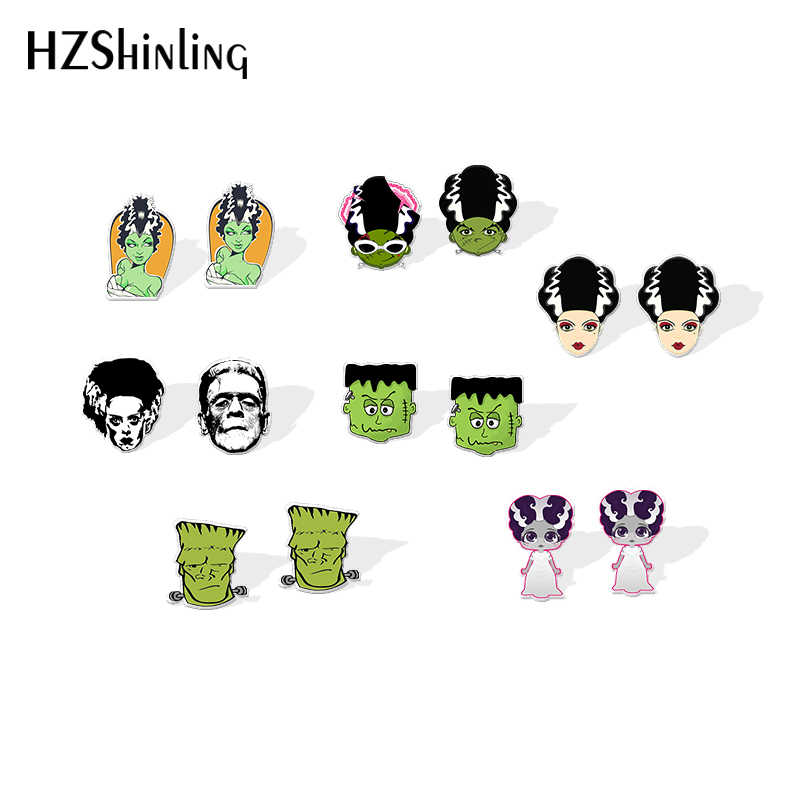 2019 Baru Monster Frankenstein Seni Resin Anting-Anting Pengantin Frankenstein Shrinky Dinks Anting-Anting Halloween Epoxy Perak Anting-Anting