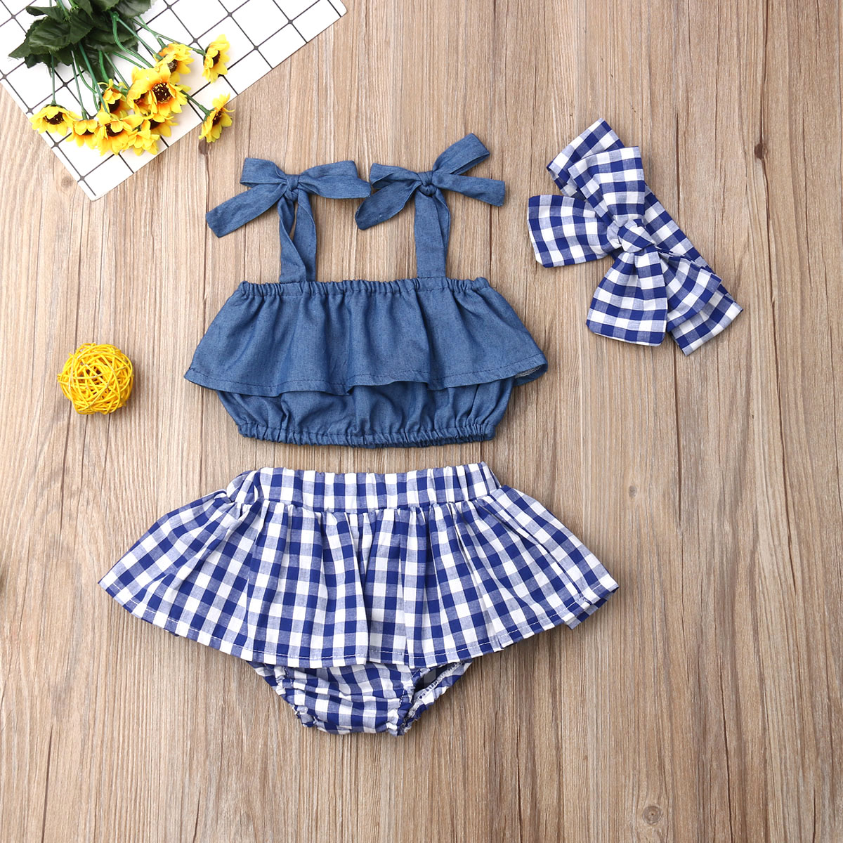 Pudcoco Newest Fashion Summer Newborn Baby Girl Clothes Sling Ruffle Crop Tops Plaid Mini Skirt Headband 3Pcs Outfits Clothes