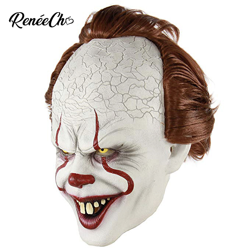 Reneecho Scary Killer Pennywise Mask Stephen King's It Mask Horror Clown Joker Masks Halloween Mask Led