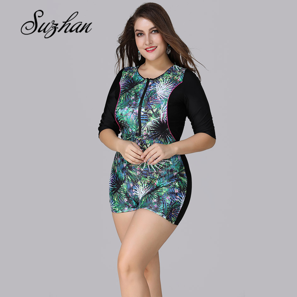 Suzhan Plus Size Swimwear Women Large Size Half Sleeves Swimsuit Front Swimwear Female One Piece Suits Surf beach swimsuit 5XL