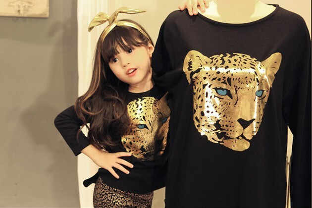 נמר ילדים גדול בנות בגדים ארוך שרוול 3D הדפסת חיה חולצה חותלות שתי חתיכה ילדי סט בגדי סתיו בנות תלבושות