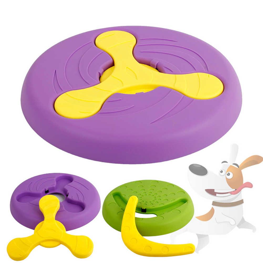 עגול חיות מחמד צעצועים מעופף דיסק אינטראקטיבי מזון מגש להסרה לתפוס משחק רך תכליתי חיצוני Trainning סיליקון ללעוס