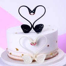 Love Heart Swan Shaped Happy Birthday Cake Topper Bunting Banner Cute Unique Display Ornament Decorating Party accessory(China)