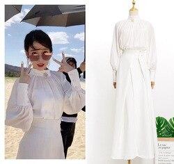 Camisa branca + saia Vestido enviar broche para as mulheres doce LUNA DEL Hotel mesmo IU Lee Eun Ji no outono vestidos de mulher primavera