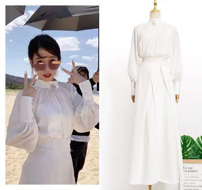 White Shirt + Skirt Dress Send Brooch For Women Sweet DEL LUNA Hotel Same IU Lee Ji Eun In Autumn Woman Dresses Spring