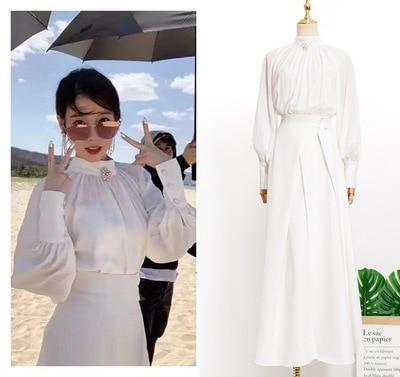 White Shirt + Skirt Dress Send Brooch For Women Sweet DEL LUNA Hotel Same IU Lee Ji Eun In Autumn Woman Dresses Spring