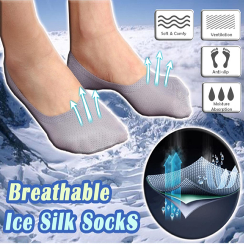 3 Pairs Men Breathable Ice Silk Socks Low Cut Liner Non Slip Thin Invisible Sports Socks O66