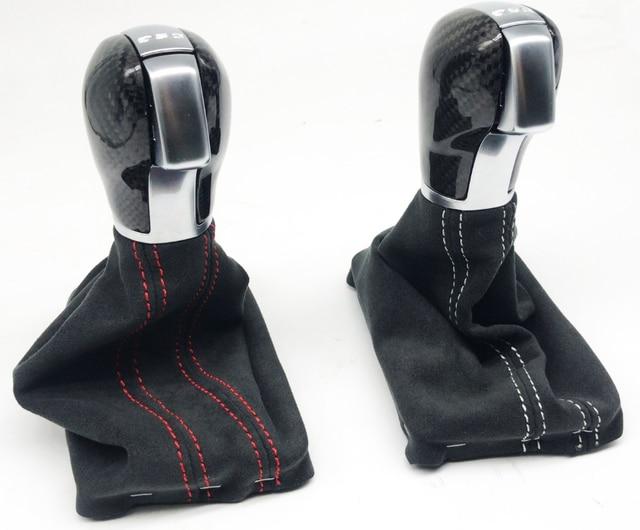 Pommeau de vitesse en fibre de carbone pour Golf 7 DSG avec bottes en daim, pour V Golf 7 modification de voiture