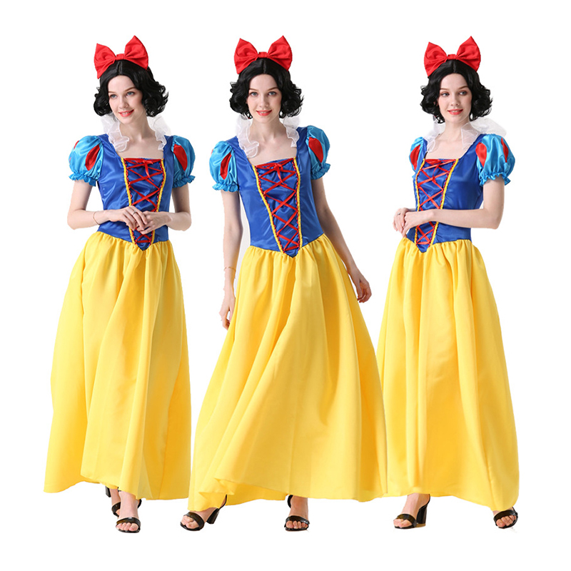 2019 NEW Snow White Cosplay Costume Adult Women Dress Princess Dress Fancy Gown Role Playing Halloween Birthday Party Carnival