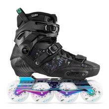 2020 orijinal Powerslide EVO Hardcore kentsel karbon Fiber tek sıra tekerlekli paten sokak yetişkin rulo kayak ayakkabıları ücretsiz paten Patines
