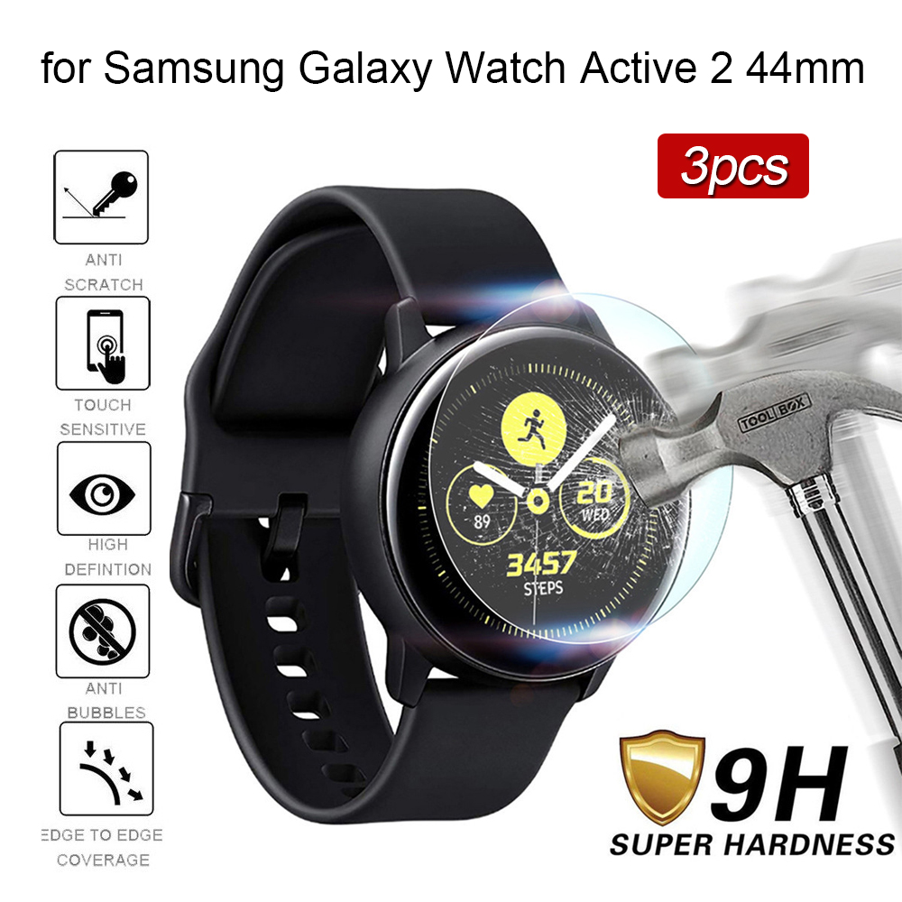 3pcs Tempered Glass On For Samsung Galaxy Watch Active 2 44mm Smart Watches Vidrio Templado Screen Protector Film Bubble Free 9h