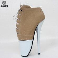 Брендовые Новые Летние Стильные туфли лодочки на высоком каблуке шпильке 7 дюймов, привлекательные туфли на тонком каблуке со шнуровкой для танцевальной вечеринки, ночного клуба размера плюс