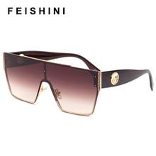 FEISHINI Brand Metal Sunglasses Men Retro Mirrorr Fashion Brown Gradient